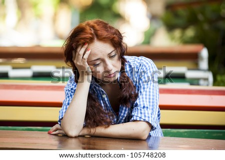 Hipster girl in depression - stock photo