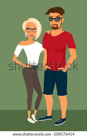 Hipster guy and his blond pretty girlfriend wearing glasses.  - stock photo