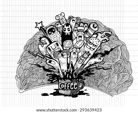 Hipster Hand drawn Coffee lettering and doodles monster background, illustrator line tools drawing,