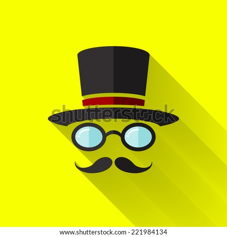 hipster icon in colorful flat design style  - stock photo