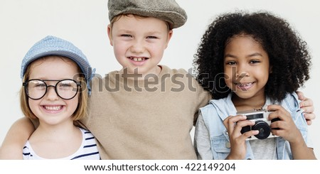Hipster Kids Playing Cheerful Outdoors Concept - stock photo