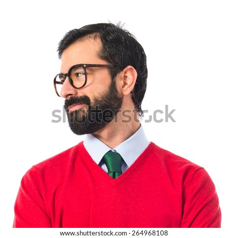 Hipster man over white