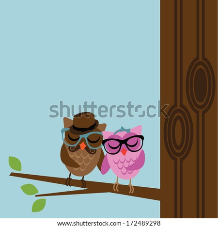 Hipster Owl Background.  - stock photo