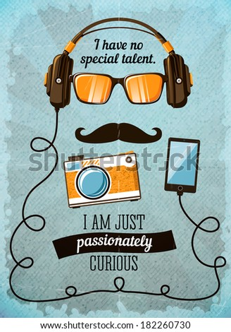 Hipster poster with vintage accessories and items  illustration - stock photo