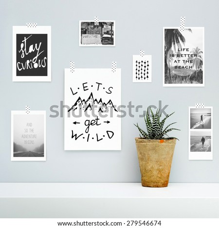 Hipster scandinavian interior design.  Summer, vocation, adventure, journey mood board  with hanging on the gray wall with potted flower.  - stock photo