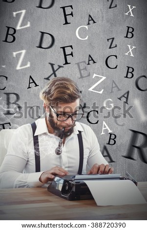 Hipster smoking pipe while working on typewriter against white and grey background - stock photo