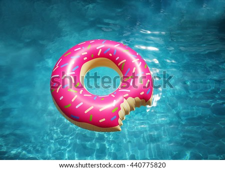 Hipster sprinkled donut float in sunny pool background straight down on bright clear pool water