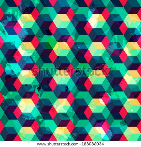 hipster squares seamless pattern with grunge effect (raster version)