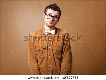 Hipster style guy in studio - stock photo