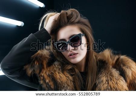 Hipster Teen Girl Sunglasses Posing Over Stock Photo ...
