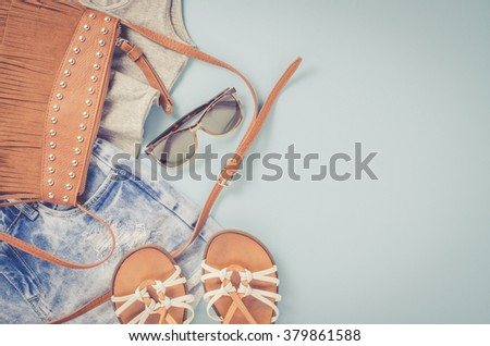Hipster woman clothes - stock photo
