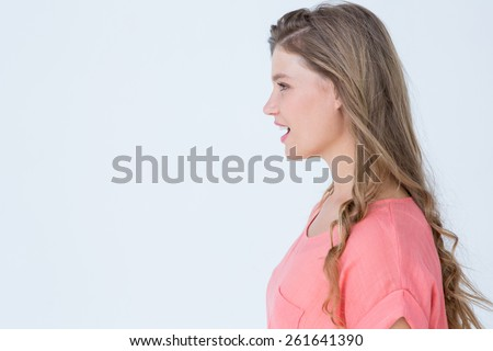 Hipster woman talking to someone on white background