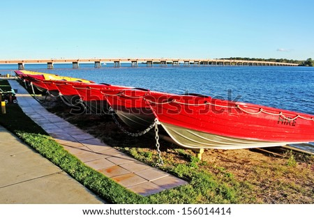 Hire boats at Bribie Island in Queensland Australia. - stock photo