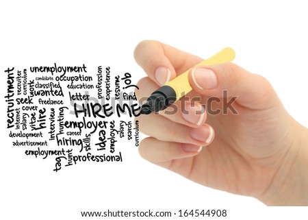 hire me wordcloud drawn by hand - stock photo
