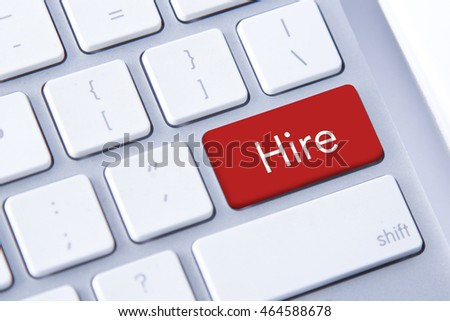 Hire word in red keyboard buttons