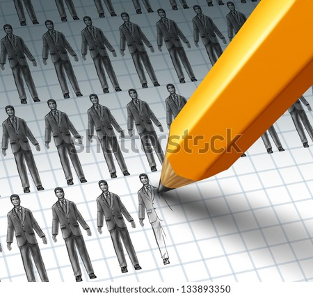 Hiring Employees and adding new job opportunities to a group of business people as a pencil drawing a new businessman as a newly hired worker for a career opening. - stock photo