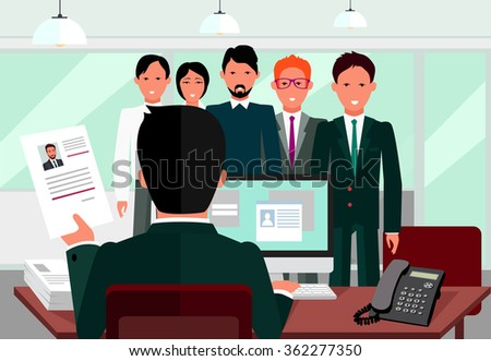 Hiring recruiting interview. Look resume applicant employer. Hands Hold CV profile choose group business people. HR recruiting we are hiring. Candidate job position. Hire interviewer. Raster version - stock photo