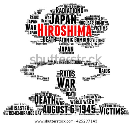 Hiroshima atomic bombing word cloud concept