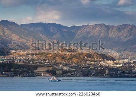 Hiroshima city and Hiroshima bay view from Miyajima Island, Japan - stock photo