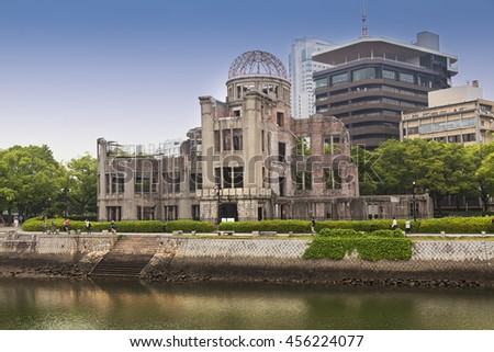 HIROSHIMA, JAPAN- MAY 27:View on the atomic bomb dome in Hiroshima Japan. UNESCO World Heritage Site  on May 27,2016
