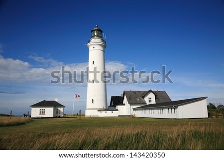 hirthals tip of Denmark sunset with beach ferry to norway and iceland europe north - stock photo