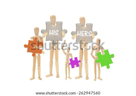 His Hers Mannequins family holding puzzle pieces isolated on white background - stock photo