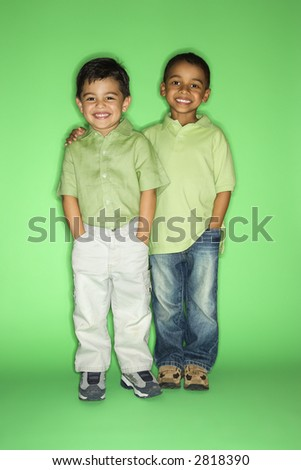 Hispanic and African American male child portrait.