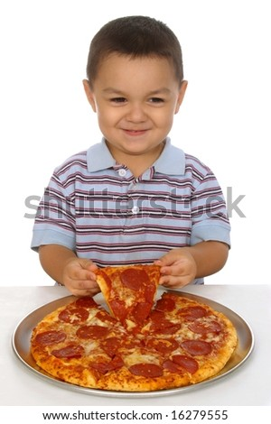 Hispanic boy and pizza