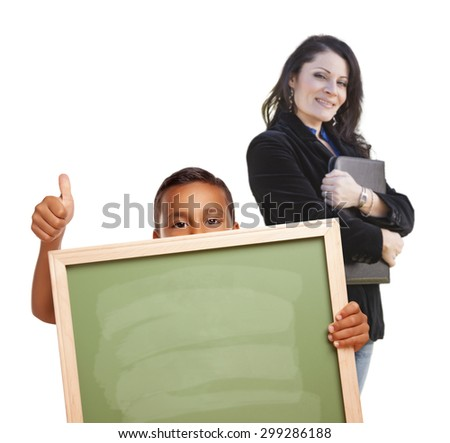 Hispanic Boy with Thumbs Up Holding Blank Chalk Board and Teacher Behind Isolated on White. - stock photo