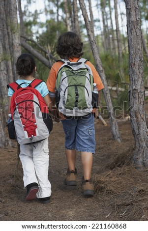 Hispanic brother and sister hiking in woods - stock photo