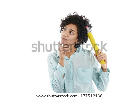 hispanic business woman scratching head with huge yellow pencil on white background
