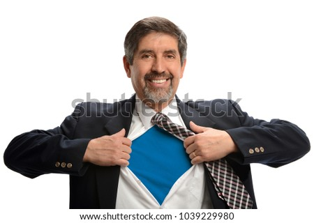 Hispanic businessman opening shirt to reveal Super Hero sign isoalted over white background
