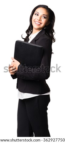 Hispanic Businesswoman with notebook isolated on white background