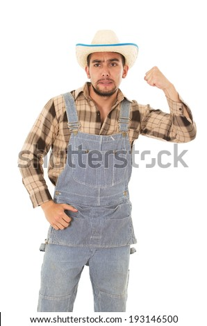 hispanic farmer with a hat on a white background