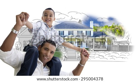 Hispanic Father and Son Over House Drawing and Photo Combination on White. - stock photo