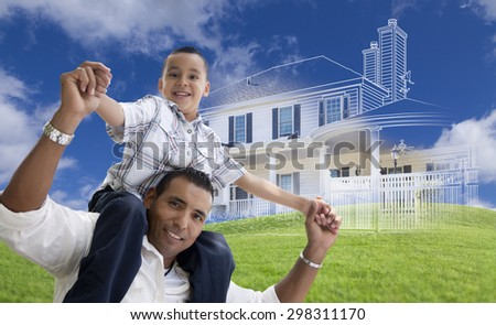 Hispanic Father and Son Piggyback with Ghosted House Drawing, Partial Photo and Rolling Green Hills Behind. - stock photo