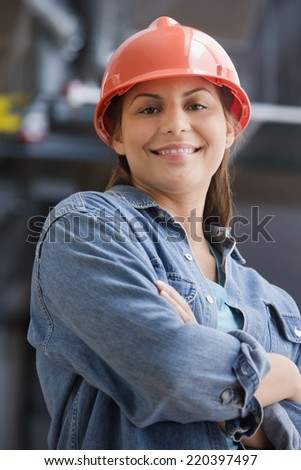 Hispanic female construction worker