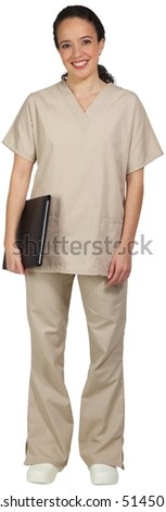 Hispanic female medical professional, in scrubs, holding a folder by her side.