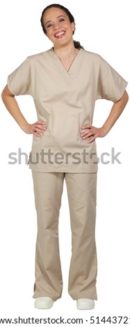 Hispanic female medical professional, in scrubs, laughing with hands on hips.