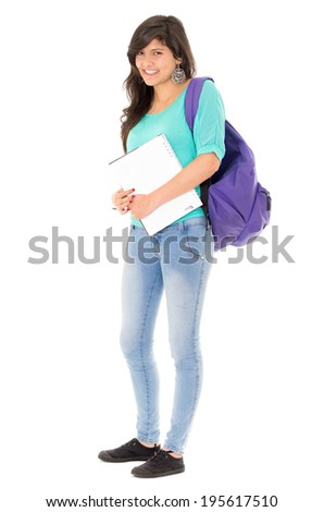 hispanic female student on white background - stock photo