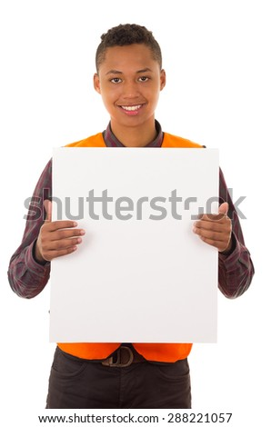 Hispanic industry worker holding up papers for camera in front