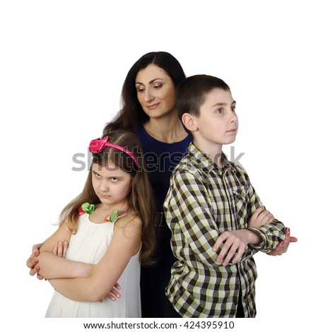 Hispanic looking woman with teenage boy and small girl isolated on white background in square - Mother with children - stock photo