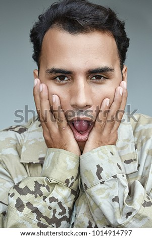 Hispanic Male Soldier And Anxiety