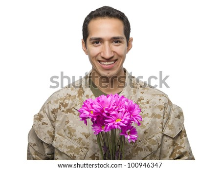 Hispanic Military Man with pink flowers