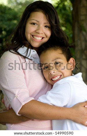 Hispanic mom and her son