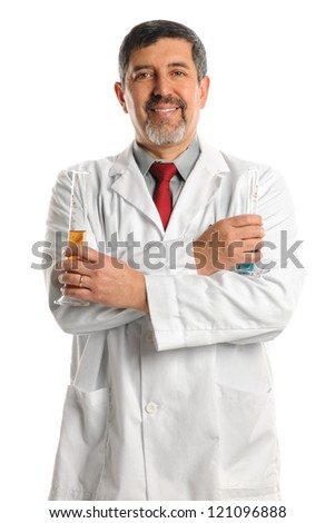 Hispanic scientist holding laboratory glassware isolated over white