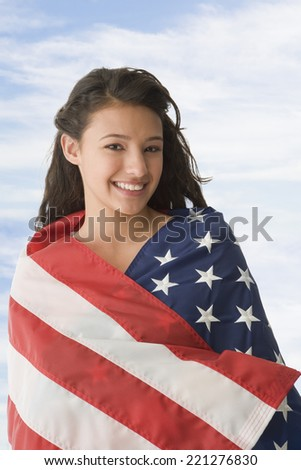 photos of girls jumping wrapped in american flag № 13442