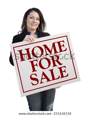 Hispanic Woman Holding Home For Sale Real Estate Sign Isolated On White. - stock photo