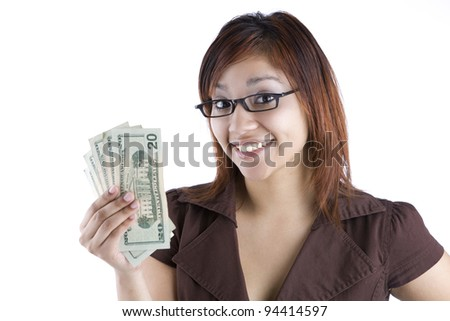 Hispanic Woman Holding Money - stock photo