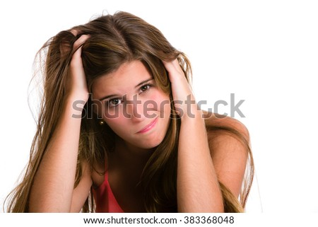 Hispanic young woman with Desperate and confused expression.  - stock photo